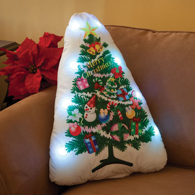 Christmas Tree Light Up Pillow