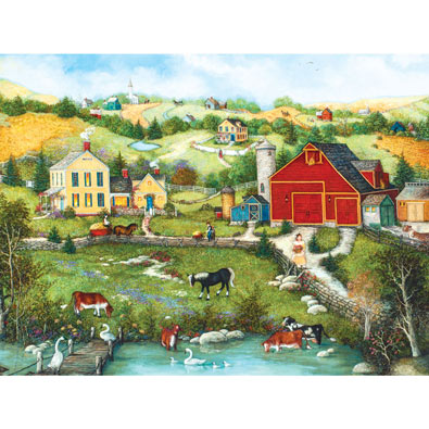 Homestead on the Farm with Animals 300 Large Piece Jigsaw Puzzle