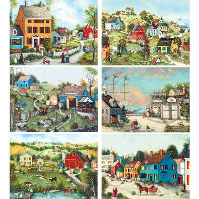 Set of 6: Nelson Stocks 300 Large Piece Jigsaw Puzzle