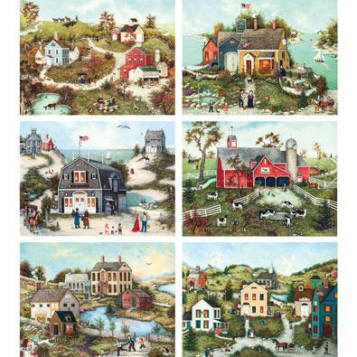 Set of 6: Linda Nelson Stocks 500 Piece Jigsaw Puzzles