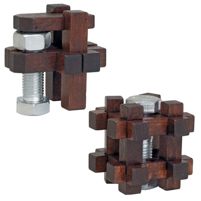 Set of 2: Wooden Bolt Puzzles