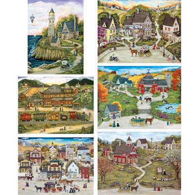 Set of 6: Ann Stookey 500 Piece Jigsaw Puzzles