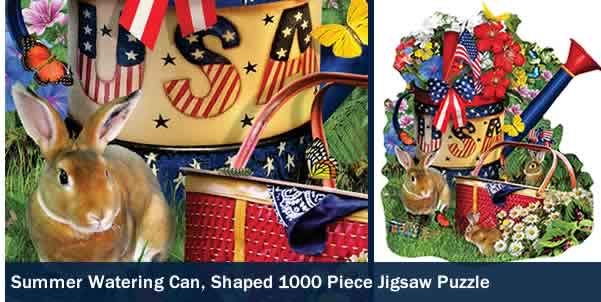 SUMMER WATERING CAN SHAPED 1000 PIECE JIGSAW PUZZLE