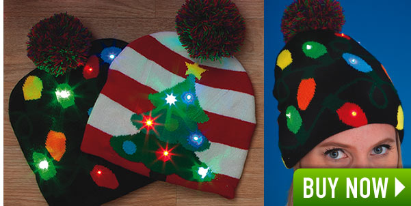 Light-Up Festive Christmas Caps- Lights