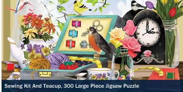Sewing Kit and Teacup 300 Large Piece Jigsaw Puzzle