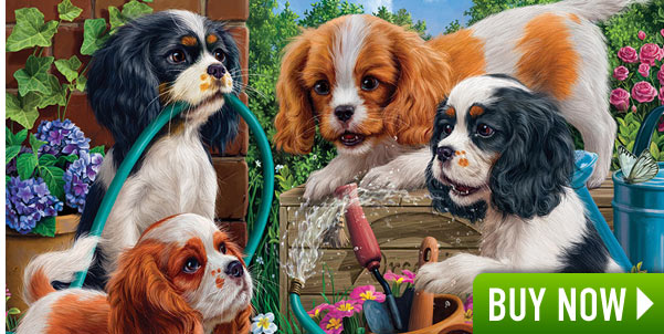 Pups in the Garden 500 Piece Jigsaw Puzzle