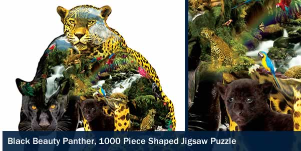 Black Beauty Panther 1000 Piece Shaped Jigsaw Puzzle