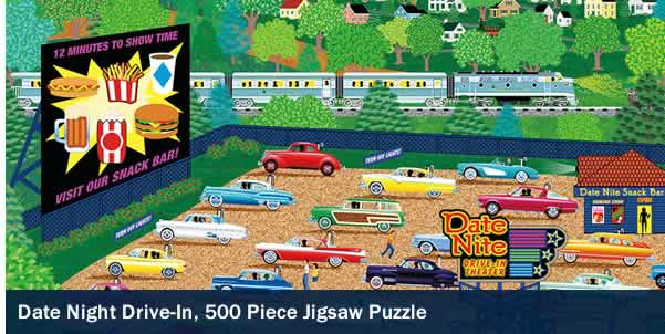 Date Night Drive-In 500 Piece Jigsaw Puzzle