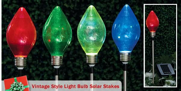 Vintage Style Light Bulb Solar Stakes