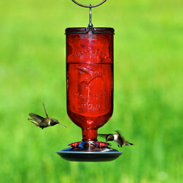 Vintage Glass Hummingbird Feeder