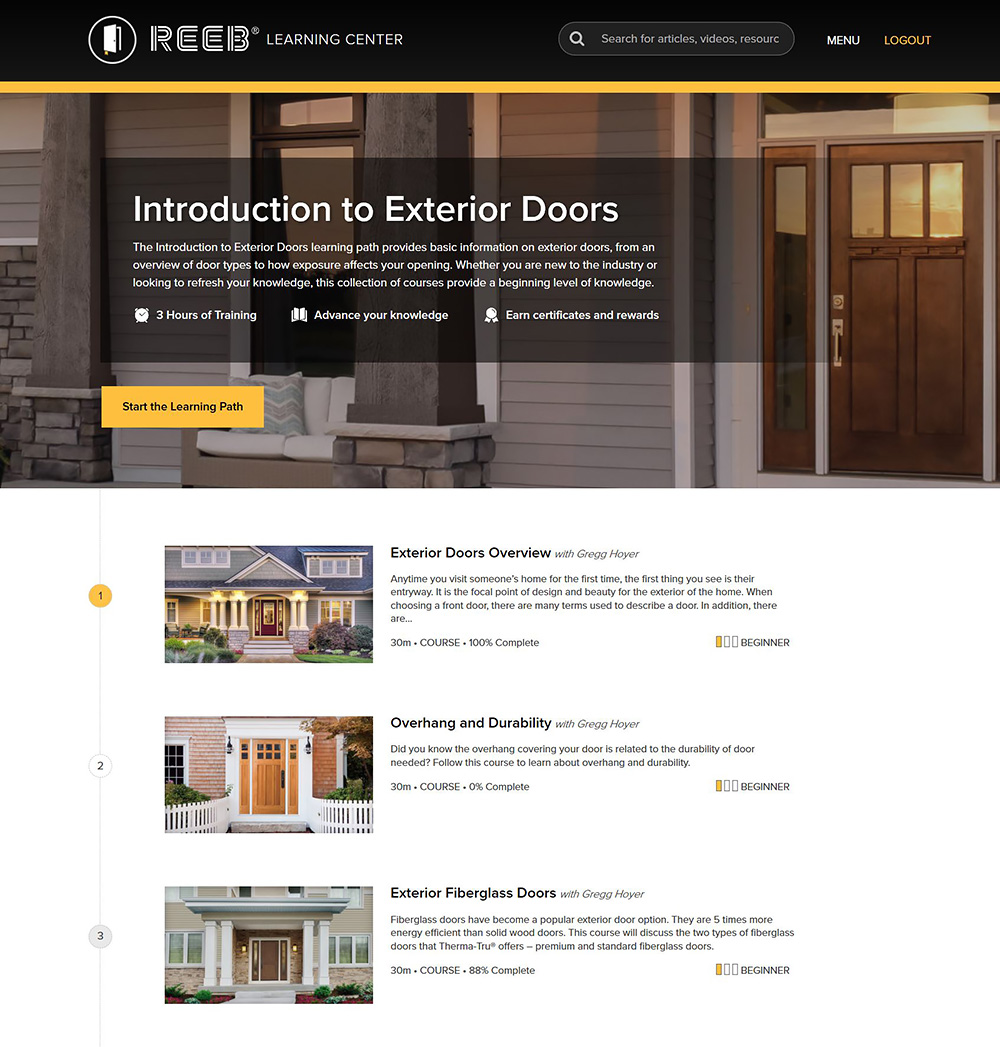 Introduction to Exterior Doors Learning Path