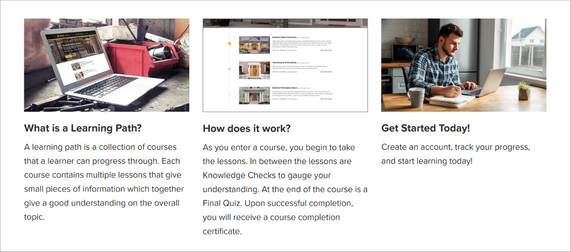 Reeb Guided Learning Paths Landing Page