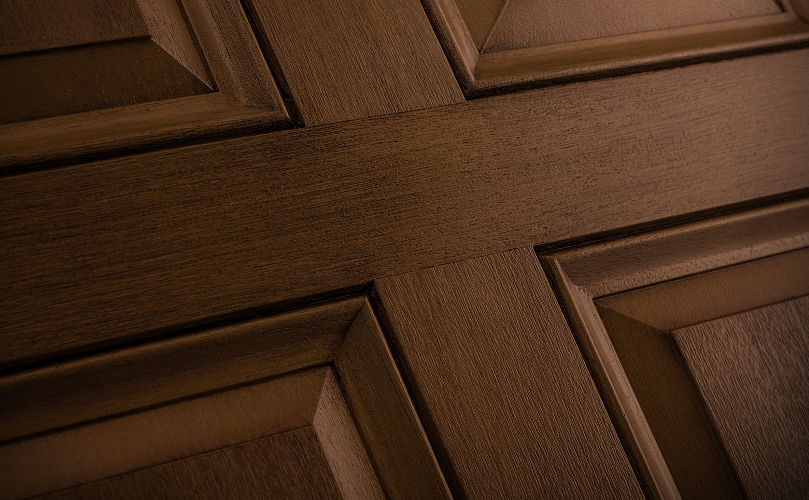 Door Detail Shown in Reeb Finish Dark Maple