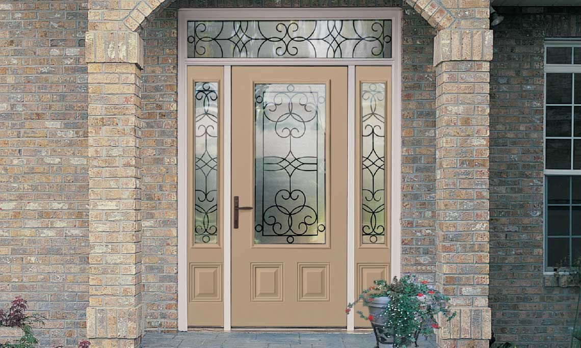 Steel Door Unit with Decorative Glass