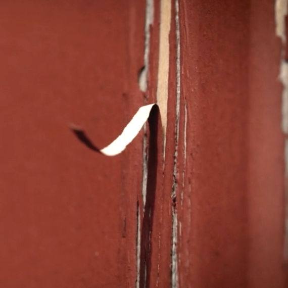 Close Up of Door with Delamination.