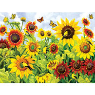 Sunflowers and Goldfinches 300 Large Piece Jigsaw Puzzle