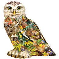 Forest Messenger Owl Shaped Jigsaw Puzzle
