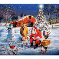 Santa at the Farm 300 Large Piece Jigsaw Puzzle