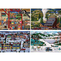 Set of 4: Heronim 300 Large Piece Jigsaw Puzzles
