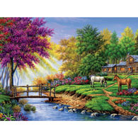 Log Cabin with Ponies 550 Piece Jigsaw Puzzle