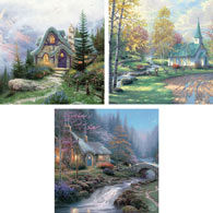 Set of 3: 550 Piece Kinkades Puzzles