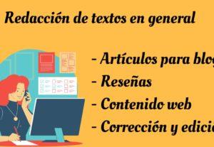 Redacción y revisión de textos en general