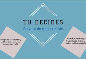 Transcripción en idioma español de textos y audios