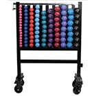 Vertical Beauty Bell Aerobic DB Rack w/ Wheels & Full Aerobic Neoprene DB Set