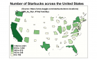 Number of Starbucks by state (USA), non-contiguous area cartogram [OC] : dataisbeautiful