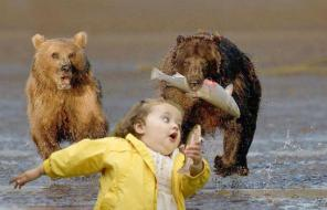 Image result for kid running away from bear with fish