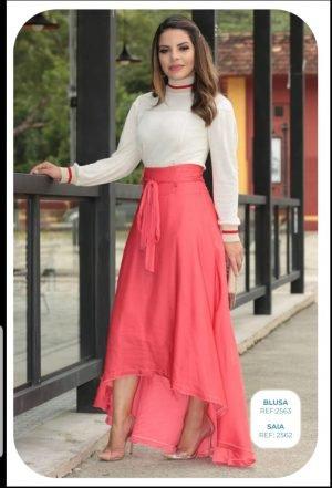 blusa feminina tricô, moda evangélica, roupas femininas, moda feminina, coimbra, kauly, blusa manga longa, saia longa mullet