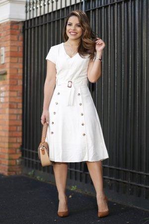 Vestido Lady Like em linho com abotoamentos Loja Evangélica online