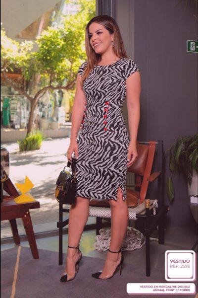 Vestido em Bengaline Double Animal Print