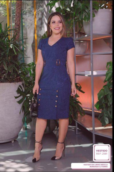 Vestido em Linho Mescla Bordado