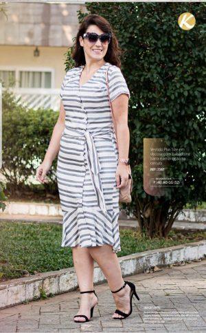Vestido Plus Size em Viscose com Babado Moda Evangélica Feminina