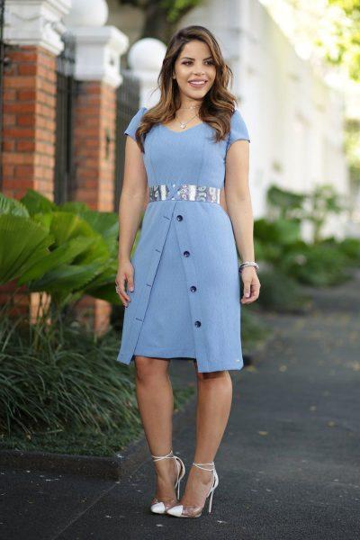 Vestido em crepe jacquard Moda Evangélica Feminina