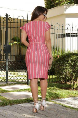 Vestido tulipa listrado linho Moda Feminina Online