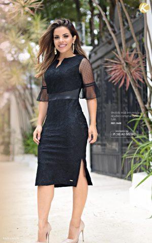 Vestido midi Moda evangélica em renda double