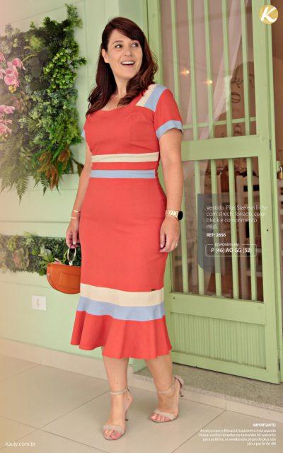 Vestido Plus Size em linho com strech color block