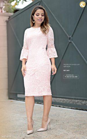 Vestido em renda com aplicação moda cristã feminina