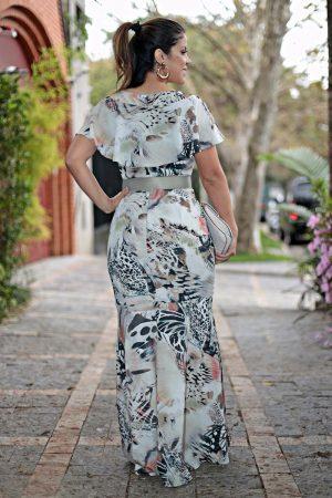 Vestido longo estampado Moda Cristã Feminina