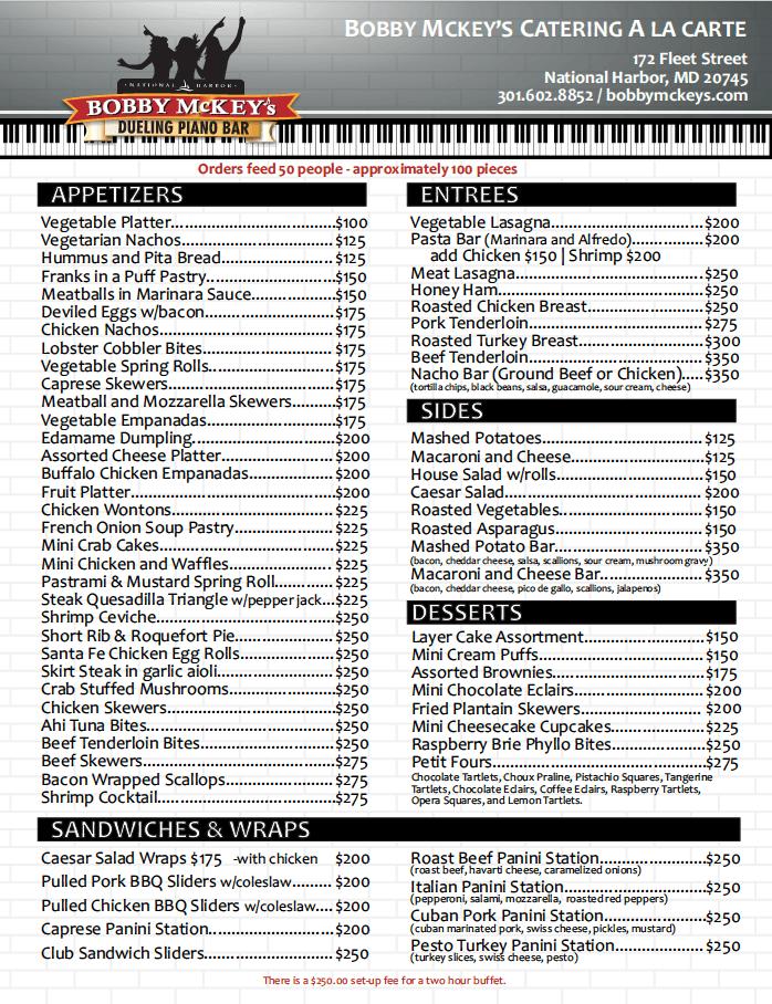 Catering Menu Piano bar dc