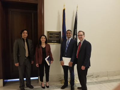 From left: Muneeb Faiq, PhD (NYU/Langone), Jasmin Palomares, office of Sen. Kirsten Gillibrand (D-NY), Ajay Kuriyan, MD (Flaum Eye/University of Rochester), and Brian Hofland, PhD, President of Research to Prevent Blindness