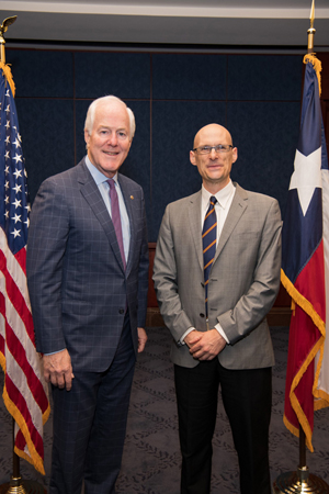Daniel Coates, PhD (University of Houston College of Optometry), right, with Sen. John Cornyn (R-TX)