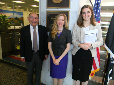 From left: NAEVR/AEVR Board President Paul Lee, MD, JD, and Abigail Fahim, MD, PhD (both from the Kellogg Eye Center/University of Michigan) with Devin Parsons, office of Sen. Gary Peters (D-MI)