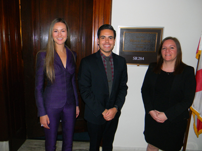 Jessica Steen, OD (NOVA Southeastern College of Optometry), left, and Florence Cabot, MD (University of Miami/Bascom Palmer), right, with Jaime Varela, office of Sen. Marco Rubio (R-FL), a Senate Labor, Health and Human Services, and Education (LHHS) Appropriations Subcommittee member with jurisdiction over <br />NIH/NEI funding