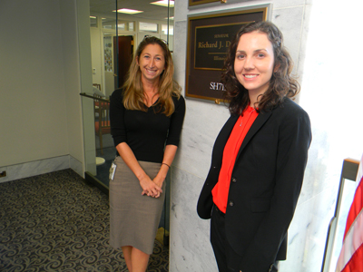 Jessica McNiece, office of Sen. Richard Durbin (D-IL), with Stephanie Adams, OD, PhD (Illinois College of Optometry). Sen. Durbin is a Senate LHHS Appropriations Subcommittee member.