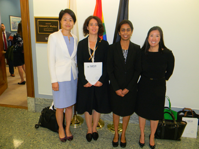 From left: Vicki Chen, MD (Tufts Medical Center), Jia Yin, MD, PhD (Mass Eye & Ear/Harvard Medical School), Nikki Hart, office of Sen. Ed Markey (D-MA), Kinga Bujakowska, PhD (Mass Eye & Ear/Harvard Medical School), and Sangeetha Metlapally, PhD (New England College of Optometry)