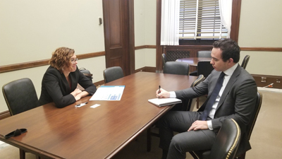 Lynn Hassman, MD, PhD (Washington University) with Daniel Kishi, office of Sen. Josh Hawley (R-MO)