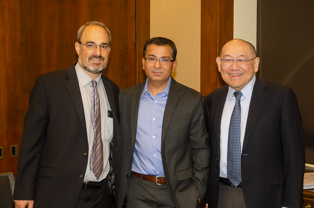 Dr. Bharti with Shefa Gordon, PhD, NEI's Director of the Office of Program Planning and Analysis, left, and AEVR Board President Paul Lee, MD, JD (Kellogg Eye Center/University of Michigan), right